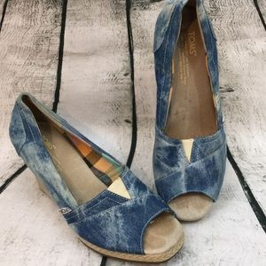 Toms wedge denim espadrilles